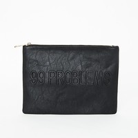 Missguided - Ramira 99 Problems Embossed Slogan Clutch Black