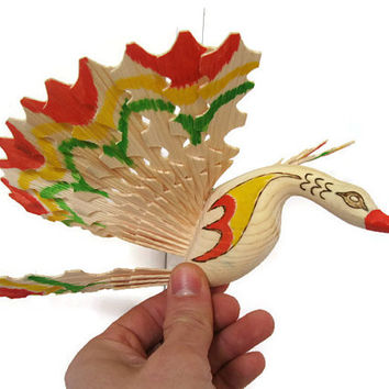 Wooden Swan for Lakehouse Cottage Decor, OOAK Carved Wooden Bird Made in Bulgaria, Hanging Swan Bird Figurine, HandPainted Red Orange Green