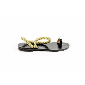 ?lvaro Gonz¨¢lez Womens Flat Sandal ANGELA METALLIC ROPE BLACK GOLD