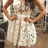 White Floral Lace Plunging Neck Skater Dress