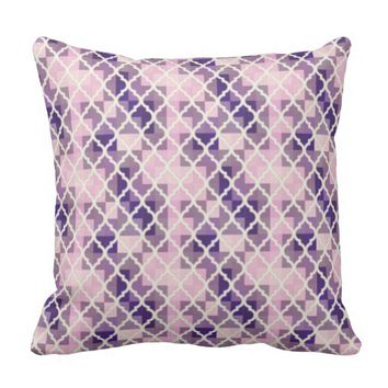 QUATREFOIL PATTERN PILLOW, Purple Lavender Throw Pillow