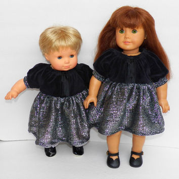 "American Girl Bitty Baby Clothes 15"" Doll Clothes or 18"" Doll Black Velour & Metallic Skirt Peasant Dress Christmas Holiday"
