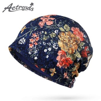 [AETRENDS] 2017 Autumn Lace Beanies Floral Hats for Women Female Slouch Caps Beanie Hat Z-5346