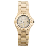 Women's Wooden Wrist Watch Quartz Fashion Wood Design Analog with Date Display