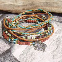 Boho Leather Wrap Bracelet Leather Bangle Bracelet  Multi-strand Wrap Leather Cuff Wrap Leather Bracelet Adjustable Wrap Bracelet for Woman