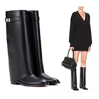 GIVENCHY  Trending Men Women's Black Leather Side Zip Lace-up Ankle Boots Shoes High Boots