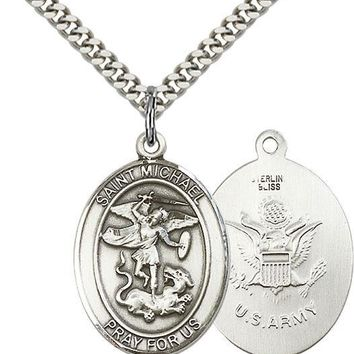 925 Sterling Silver St Michael Army Military Soldier Catholic Medal Necklace 617759766233