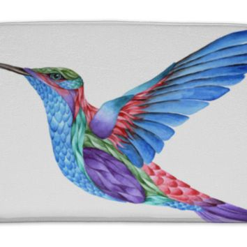 Bath Mat, Hummingbird Tattoo Watercolor Painting Isolated On White