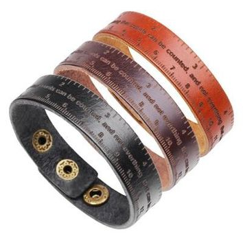 2018 Vintage Wide Cuff Genuine Leather Bracelet Men Punk Ruler Letter Cowhide Leather Wrap Bangle Wristband Fashion Jewelry
