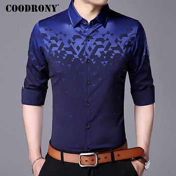 COODRONY Men Shirt Fashion Pattern Long Sleeve Camisas Masculina 2017 New Famous Brand Clothing Mens Business Casual Shirts 7713