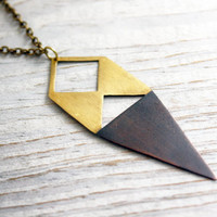 Two Tone Geometric Dagger Necklace - Black and Gold, Brass and Copper