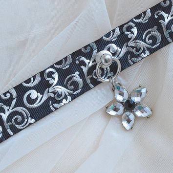 Silver flower - black and silver victorian gothic halloween witch collar with flower pendant