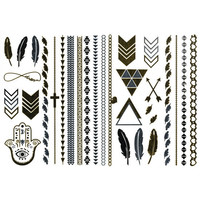 Metallic Temporary Tattoo Pack Gold One Size For Women 25685762101