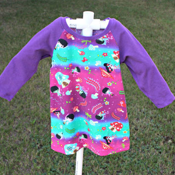 6-9 months Fairy dress with Raglan style long sleeves, purple mushroom dress