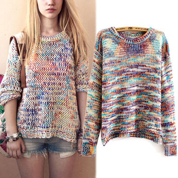 Women's Rainbow Gradient Color Slit Knitted Pullover Sweater Jumper