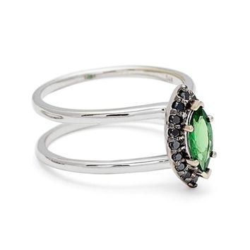 Anna Sheffield Attelage Black Diamond & Marquise Tsavorite Double Band Ring (Nordstrom Exclusive) | Nordstrom