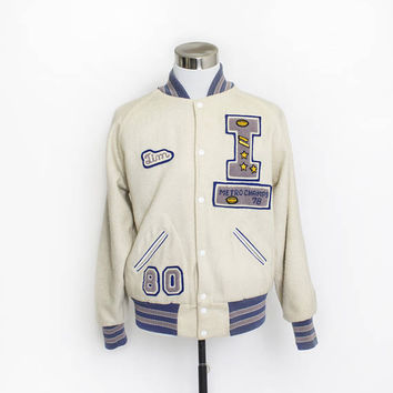 Vintage 1970s Letterman Jacket - Ivory Wool Knit Blue Varsity Jacket 1980s - Medium 40""