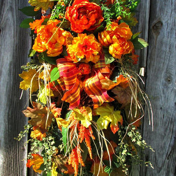 Rustic fall swag, front door swag, Fall wreath, Autumn wreath, wreath swag, rustic country decor, fall swag, fall door, beautiful wreaths,