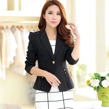 2017 Autum Casual Women's Long Sleeve Shrug Tops Button Down Office Blazer Suits Jacket Coat Outwear