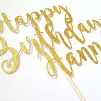 Personalized Happy Birthday Cake Topper, Gold glitter decor, birthday party, cupcakes, party favors, baby boy girl, dessert table, Name