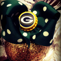 Greenbay Packers Green Polka Dot Bow Ornament