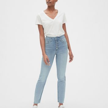 High Rise Curvy True Skinny Ankle Jeans with Button-Fly | Gap