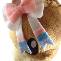 Pokemon Sylveon Beautiful Flesh Bow Ribbon Hair Clip Eeveelution Fairy Pokémon