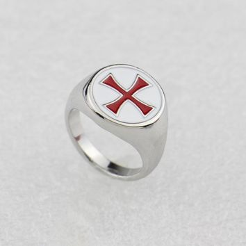 2017 Assassins Creed Ring Templar Ring the Red Cross Stainless Steel Assassins Creed Cosplay Gamer Jewelry Band Men Ring