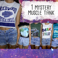 Hipster Grunge MYSTERY MUSCLE TANK Vintage 90s Singlet