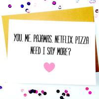 Funny Love Card/Funny Girlfriend Card/Boyfriend Card/Relationship Card/Funny Anniversary Card/Card For Husband/Card For Wife/Netflix Card
