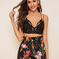 Crisscross Back Lace Top and Paperbag Waist Shorts Set