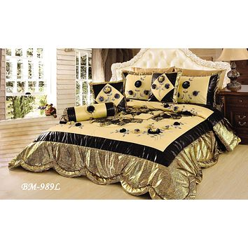 Tache 4-6 Piece Floral Patchwork Golden Royal Spring Blooms Comforter Set (BM-989L)