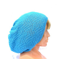 knitted beanie hat, knit blue hat, knitting winter cap,light blue  slouche, autumn lace cloche, women men accessories, knit clothing