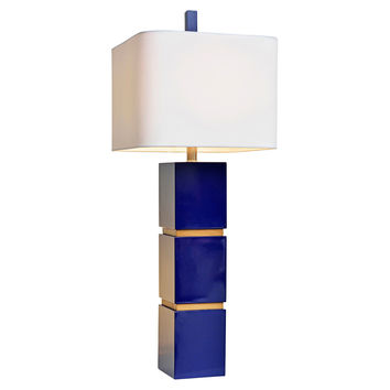 Wilshire Table Lamp, Indigo Blue/Oak, Table Lamps