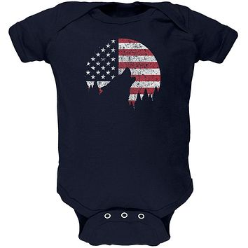 4th Of July Wolf Silhouette Flag Moon Soft Baby One Piece
