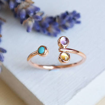 Citrine Ring, Amethyst Ring, Rose Gold Ring, Turquoise Ring, Birthstone Ring, Birthstone Jewelry, 9ct Rose Gold Jewelry, Stacking Ring