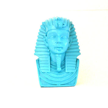 king tut head bust, egyptian, home decor, artifacts, vintage statue, upcycled, turquoise