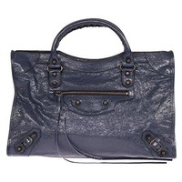 Balenciaga Women's Classic City Leather Bag, Bleu Obscur