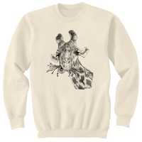 Giraffe Chewing Art Sweatshirt Ultra Cotton Small  by artbyljgrove