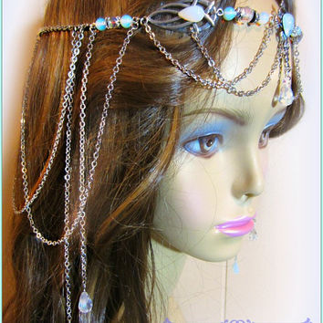 Elven Circlet, Opalite Circlet, Celtic Headdress, Opalite Headdress,  Handfasting, Ren Faire Wedding