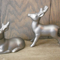 upcycled Stag deer Chrome silver Salt and Pepper shakers