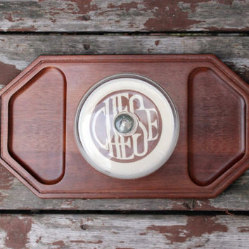 Vintage Wood Cheese Tray Board with Glass Lid | Retro Kitchen | Parties and Entertaining