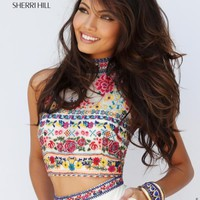 Two Piece Beaded Sherri Hill Dress 50080