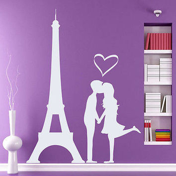 Wall Decal Vinyl Sticker Love Paris Heart Eiffel Tower  Bedroom Decor DS10