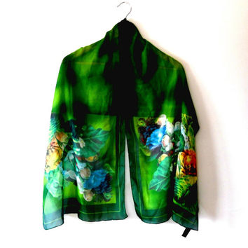 Emerald green / faded / tye dye / vintage / 90s / floral / roses / sheer / wrap / scarf