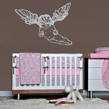 rvz1070 Wall Decal Vinyl Sticker Decor Art Bedroom Nursery Kids Baby Angel Wings