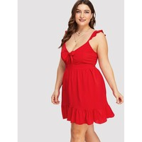 Plus Size Red Sleeveless Short A-line Dress
