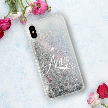 Personalised Glitter Phone Case Clear Case For iPhone 8 iPhone 8 Plus - iPhone X - iPhone 7 Plus - iPhone 6 - iPhone 6S - iPhone SE iPhone 5