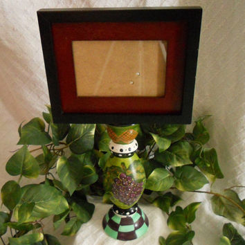 UNIQUE, large, PEDESTAL frame. Black frame. Pedestal frame. pedestal chalk board. Pedestal chalkboard. Small frames. Up cycled frames