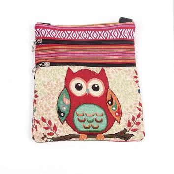 ONETOW Women Shoulder Bags Embroidered Owl Pattern Postman Package Tote Handbags High Quality